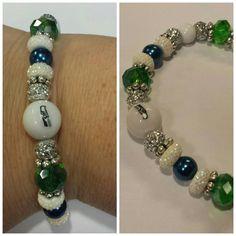 Seattle Seahawks Themed Bracelet by JewelsByBrooke on Etsy