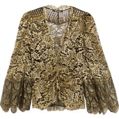 Roberto Cavalli Metallic lace jacket (14.180 DKK) ❤ liked on Polyvore featuring outerwear, jackets, gold, brown jacket, roberto cavalli jacket, roberto cavalli, lace jackets and metallic jacket