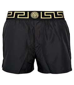 VERSACE Versace Iconic Gold Detailing Men'S Swim Shorts, Black. #versace #cloth #