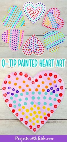 This contains: Q-tip painted hearts for kids to make for Valentine's Day. Valentine's Day Crafts For Kids, Valentine Crafts For Kids, Valentines Day Activities, Valentines For Kids, Valentine Stuff, Q Tip Painting, Painting For Kids, Preschool Crafts, Preschool Learning