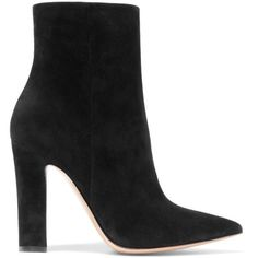 Gianvito Rossi Suede ankle boots ($835) ❤ liked on Polyvore featuring shoes, boots, ankle booties, high heels, short black boots, black ankle booties, pointed-toe ankle boots, black bootie and black boots