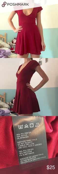 "*NWOT* Deep V skater dress-Silence and Noise Tags taken off but never worn. I'm 5'7"" and it's just a little too short for comfort. Love the style of it though! Will be great for the holiday season. Urban Outfitters Dresses Mini"