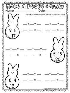 "Spring Peeps Madness FREE Or.idea: use peeps when introducing fact families. My number ""peeps"". Teaching First Grade, 1st Grade Math, Teaching Math, Second Grade, Math School, School Fun, Middle School, School Stuff, Math Classroom"