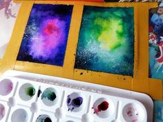 How to paint a galaxy with watercolor and ink (easy) | Chizakura Art - YouTube