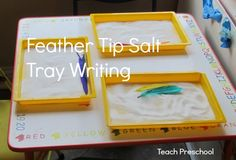 Feather Tip Salt Tray Writing by Teach Preschool