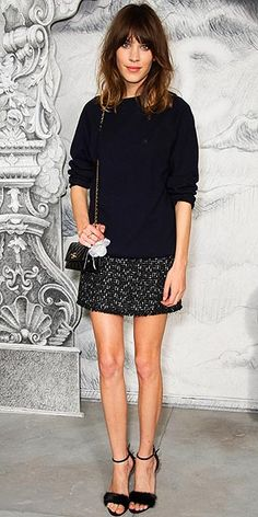 Alexa Chung - cute oversized sweater with skirt.