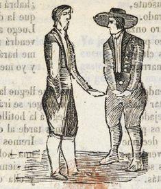 Xilografía en cabecera de dos hombres de pie, uno de ellos lleva un sombrero.