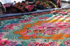 Beautiful karabag kilim rug with lots of orange!