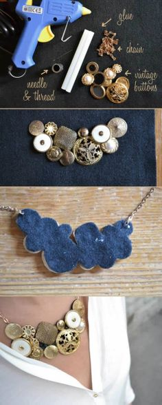 18 Ideas for DIY Fashion Crafts DIY Vintage Button Necklace — tried and fell in love! Do It Yourself Jewelry, Do It Yourself Fashion, Button Necklace, Diy Necklace, Necklace Ideas, Collar Necklace, Diy Bracelet, Button Jewellery, Necklace Tutorial