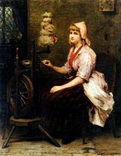 """The Girl at the Spinning Wheel"" by Katherine D. M. Bywater, 1885"