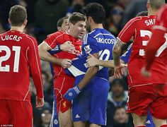 Gerrard and Costa were both booked after clashing in the second half
