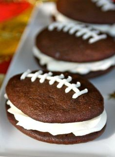 Football whoopie pies - the perfect dessert for your game day party!