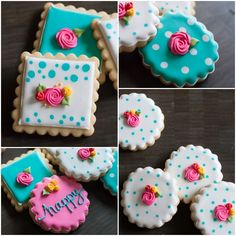 happy floral decorated cookies, with how-to's and tips from @bakeat350