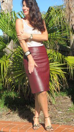 Burgundy leather skirt 4