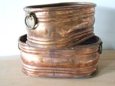 Brass jardiniere // Pair of French Vintage by VintageRetroOddities