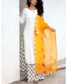Off white kurta with printed palazzo and bandhej dupatta by Label Shivani Vyas Salwar Designs, Kurta Designs Women, Kurti Designs Party Wear, Blouse Designs, Stylish Dresses, Casual Dresses, Fashion Dresses, Trendy Outfits, Indian Designer Outfits