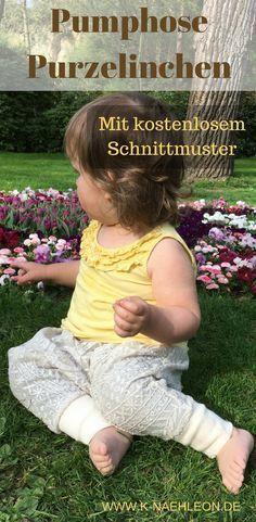 Nähen für Kinder: Die Pumphose Purzelinchen für Mädchen und Jungen ist einfach und schnell zu nähen. EIne Anleitung mit kostenlosem Schnittmuster von K-Nähleon