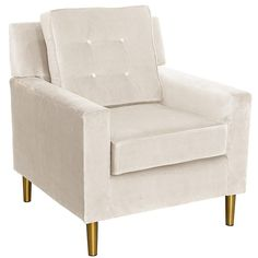 Home Marketplace Velvet Parkview Chair with Metal Legs - Ivory/Off White