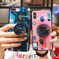 Luxury Blu ray retro camera Phone Cases For iPhone X 6 7 8 Plus Case Vintage Camera Soft Back Cover With air bag stand Holder 3d Camera, Cute Camera, Camera Case, Retro Camera, Camera Phone, Dslr Cameras, Cute Phone Cases, Iphone Phone Cases, Cool Iphone Cases