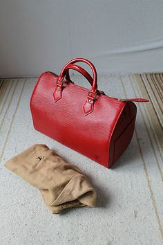 02ef6443eb Authentic Louis Vuitton Red Epi Leather Speedy 30 Handbag Speedy 30,  Branded Bags, Red