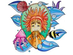Sea creatures. Would like to see this character in a children's book.