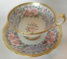 HAMMERSLEY Tea Cup Saucer Set w WILD ROSES n Flowers w Gold