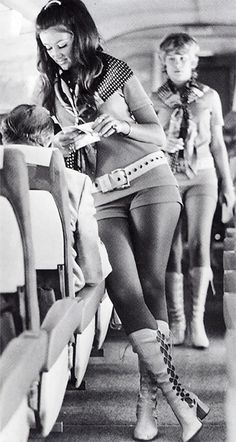 Southwest Airlines air hostess, 1968 - Air stewardesses used to have very strict weight, height restrictions and they had to be pretty and single. Many also had very revealing uniforms.