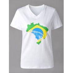 Повседневный V-образным вырезом Карта Печать с коротким рукавом футболки для женщин  #Повседневный #V-#образным #вырезом #Карта #Печать #с #коротким #рукавом #футболки #для #женщин