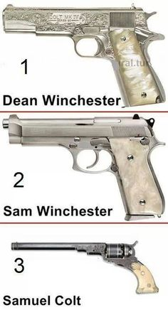 Ok, they're not exact (Dean's Colt 1911 has different engraving and ivory grips, not MOP, and obviously THE Colt looks very different from the one in the picture), but damn it I want that and sams guns are gorgeous Supernatural Cosplay, Supernatural Fans, Castiel, Crowley, Supernatural Merchandise, Supernatural Wallpaper, Sam E Dean, Sam And Dean Winchester, Winchester Brothers