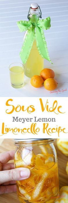Homemade limoncello can take weeks to fully develop the flavors of the meyer lemons. This easy recipe for sous vide limoncello will give you a delicious liquor in less time. If you are looking for a quick limoncello recipe for gift giving, put your sous v Best Cocktail Recipes, Sangria Recipes, Drinks Alcohol Recipes, Punch Recipes, Canning Recipes, Yummy Drinks, Drink Recipes, Limoncello Recipe, Homemade Limoncello