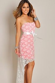 Sweet and Sexy White Lace Strapless High Low Maxi Dress