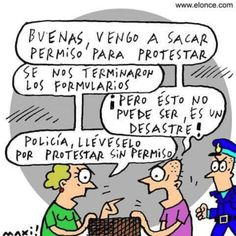 Permiso para protestar #Viñeta #Humor Peanuts Comics, Humor, Twitter, Laughing, Mario, Texts, Sentences, Im A Mess, Chistes
