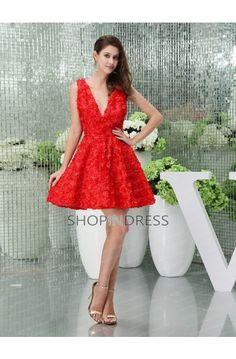 A-line Lace V-neck Prom Dress
