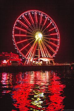 Great Ferris Wheel, Seattle, Washington.  Go to www.YourTravelVideos.com or just click on photo for home videos and much more on sites like this.