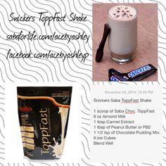 Snickers Saba Chocolate ToppFast Shake! Yum! sabaforlife.com/acebyashley facebook.com/acebyashleyp