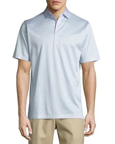 Sean Wheeler Striped Cotton Lisle Polo Shirt