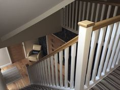 Basic staircase with oak handrail and pine stop chamfered spindles rustic style . Basic staircase with oak handrail and pine stop chamfered spindles rustic style corridor, hallway & Staircase Banister Ideas, Oak Banister, Oak Handrail, Banister Remodel, Stair Spindles, White Staircase, Oak Stairs, House Stairs, Staircase Design