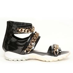Givenchy Black Patent Gladiator Sandals with Gold Chain Detail  Spring Summer 2013 Menswear Colection    Price $1100