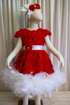 Red 3D Shabby Rosette Feather Dress Set  Valentine by cd1ofakind, $80.00