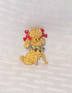 60's 70's Vintage Christmas Poodle Dog Pin by by MyVintageHatShop