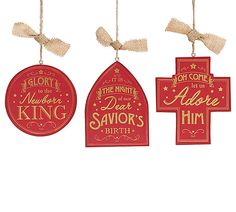 The Jolly Christmas Shop - Wooden Burgundy and Gold Religious Christmas Ornament 9725688, $4.99 (http://www.thejollychristmasshop.com/wooden-burgundy-and-gold-religious-christmas-ornament-9725688/?page_context=category