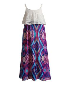 Look at this #zulilyfind! Youngland White & Purple Lace Abstract Maxi Dress - Girls by Youngland #zulilyfinds