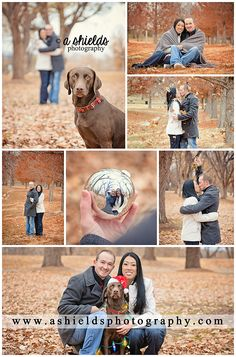 Fall Winter Session | Christmas Photos | Christmas Session | Couple with Pet | Dog wrapped in Christmas Lights | Portrait session in leaves | Amarillo TX | Photos by A Shields Photography