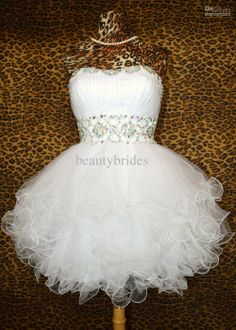 Wholesale Homecoming Dresses - Buy Custom Made Ball Gowns Sweetheart White Sequins Short Graduation Dresses Tulle Cocktail Prom Evening Homecoming Dress Gown 2013 WE1298, $74.41 | DHgate