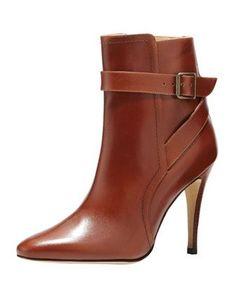 Manolo Blahnik Ribafa Buckled Ankle Boot, Medium Brown $1235.00