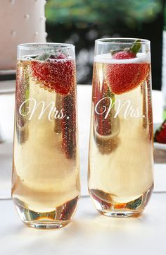 Mrs. and Mrs. champagne flutes for the toast! | Cathy's Concepts 'For the Couple' Stemless Champagne Flutes | LGBT Wedding Decor | Reception Idea | Signature Cocktails | Nordstrom