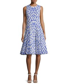 Kiko Sleeveless Embroidered Dress, Electric/Ivory