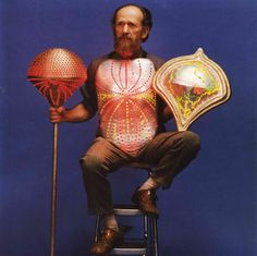 Bill Anhang (b. 1931) wearing chest plate, sconce, and scepter (1987), made of cast aluminum, light-emitting diodes, electrical wiring, and microprocessors, Montreal, Canada, n.d., private collection.  Photo by Malcom Gibbson, courtesy Bill Anhang