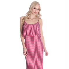 ❤️❤️❤️Pink and blue stripe flutter maxi dress Beautiful maxi dress. Pink and light blue stripes. Material is 92% polyester and 8% spandex. The straps are not adjustable, has nice stretch. Bust is 16 inches but it has room to stretch. Length of dress from top to bottom is 55 inches Dresses Maxi