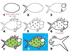 Learn to draw cartoon fish. How to doodle